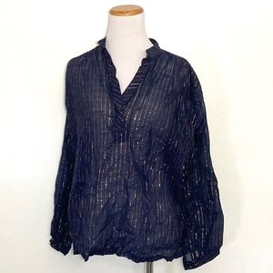 Vintage 70s Peasant Blouse Metallic Lurex Small
